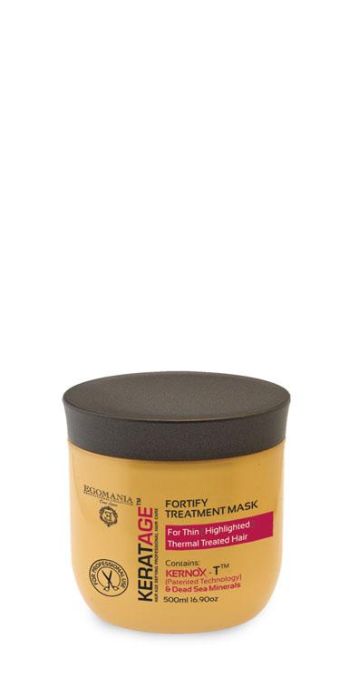 Egomania Professional Collection МаскаKeratage «Суперукрепление» для тонких, осветленных, подвергающихся тепловому воздействию волос 500 млMP59.4DМаска интенсивно питает, предотвращает ломкость и интенсивно увлажняет волосы изнутри. Уникальный комплекс КЕРНОКС-Т на основе минералов Мертвого моря, экстракта имбиря, масел облепихи и макадамии замедляет процесс старения волос, укрепляет волосы изнутри, поддерживая естественный баланс влаги и защищая от негативного воздействия агрессивной окружающей среды. Экстракты ромашки и корня женьшеня плотно запечатывают кутикулу волоса. Сок листьев алоэ обволакивает структуру волоса, делая ее легкой, защищенной и целостной.