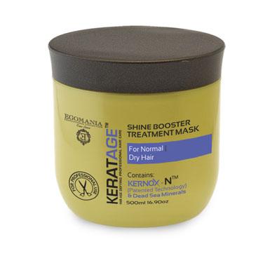 Egomania Professional Collection Маска Keratage Экстраблеск для нормальных и сухих волос 500 млCF5512F4Маска интенсивно питает, увлажняет волосы изнутри, укрепляя их структуру и придавая естественный блеск волосам. Уникальный комплекс КЕРНОКС-N на основе минералов Мертвого моря, экстракта женьшеня, масел оливы и огуречника защищает волосы от негативного воздействия агрессивной окружающей среды, УФ лучей и замедляет процесс старения волос.Сок листьев алоэ обволакивает структуру волоса, делая ее легкой, защищенной и целостной