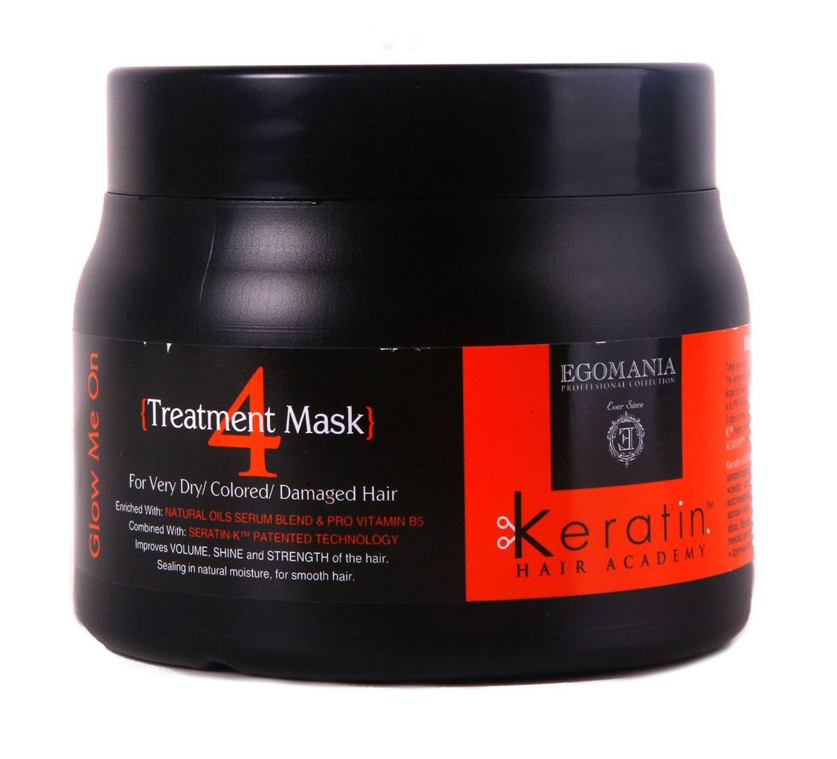 Egomania Professional Collection Маска Keratin Hair Academy Во всем блеске! для очень сухих, окрашенных и поврежденных волос 500 млFS-00897Восстанавливающая маска для окрашенных, поврежденных и сухих волос, обогащенная маслами ,работает как самостоятельный продукт, благодаря уникальной формуле, которая способствует проникновению питательных компонентов в структуру волоса. Состав этого продукта уникально богат аминокислотами и маслами. Применение маски раз в неделю оказывает поддерживающий уход, полноценное питание структуры волоса и поддержание цвета. Отличительной особенностью продукта является то, что он воздействует не только на структуру волоса, но и на кожу головы, нормализуя работу сальных желез.