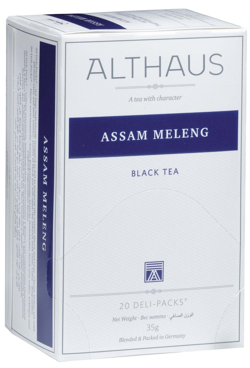 Althaus Assam Meleng чай черный в пакетиках, 20 штTALTHB-DP0015Assam Meleng - классический индийский чай с насыщенным приятным вкусом и мягким солодовым оттенком. Крепкий, пряный букет с необычными цветочно-медовыми нотками порадует любителей черного чая. Благодаря своей особой терпкости этот чай хорошо сочетается с сахаром, молоком и другими добавками. Оптимальная температура заваривания Ассам Меленг 95°С. В каждой упаковке находится по 20 пакетиков чая для чашек. Страна: Индия.Температура воды: 85-100 °С.Время заваривания: 3-5 мин.Цвет в чашке: насыщенный янтарный.Althaus - премиальная чайная коллекция.Чай, ингредиенты и ароматизаторы для своих купажей компания Althaus получает от тщательно выбираемых чайных садов, мировых поставщиков высококачественных сублимированных фруктов и трав, а также ведущих европейских производителей ароматизаторов. Пакетик Deli Pack представляет собой порционный двухкамерный мешочек из фильтр-бумаги, запаянный в специальный термоконверт с алюминиевой фольгой. Материал конвертов, в которые запаиваются мешочки с чаем Althaus состоит из четырех слоев:белая бумага с нанесением изображенияполиэтилен пониженной плотностиалюминиевая фольгаполипропилен.Благодаря такому составу упаковка Deli Packs исключает потерю первоначального вкуса и аромата чая в процессе транспортировки и хранения. Deli Packs прекрасно подходят для:домашнего использованияресторанов самообслуживаниябанкетовзавтраков в гостиницахлюбых других случаев, когда необходимо быстро и без особых усилий заварить чашку качественного чая.