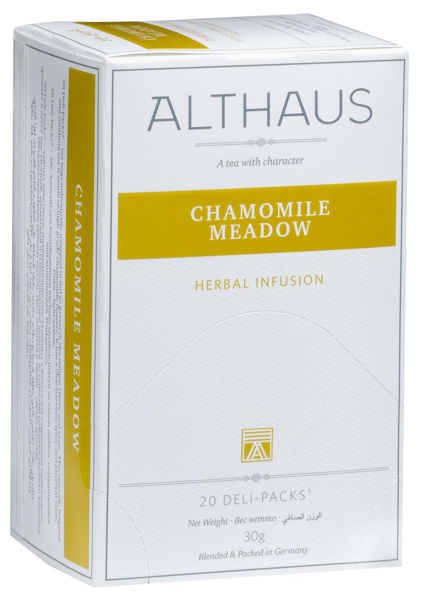Althaus Camomile Meadow чай травяной в пакетиках, 20 шт0120710Camomile Meadow — это сбор ароматных соцветий ромашки высшего качества. Ромашка идеально подходит для вечернего чаепития: этот чай с характерным пряно-цветочным вкусом и мягким ароматом снимает стресс и успокаивает.Ромашка считалась универсальным лекарственным средством с давних времен. Напиток из ромашки богат витамином C, не содержит кофеина и оказывает общеукрепляющее воздействие на здоровье человека.В упаковке находится по 20 пакетиков чая для чашек. Страна: Китай, ЮАР, ГерманияТемпература воды: 85-100 °С Время заваривания: 4-5 минЦвет в чашке: светло-желтый Althaus - премиальная чайная коллекция.Чай, ингредиенты и ароматизаторы для своих купажей компания Althaus получает от тщательно выбираемых чайных садов, мировых поставщиков высококачественных сублимированных фруктов и трав, а также ведущих европейских производителей ароматизаторов. Пакетик Deli Pack представляет собой порционный двухкамерный мешочек из фильтр-бумаги, запаянный в специальный термоконверт с алюминиевой фольгой. Материал конвертов, в которые запаиваются мешочки с чаем Althaus состоит из четырех слоев:белая бумага с нанесением изображенияполиэтилен пониженной плотностиалюминиевая фольгаполипропилен.Благодаря такому составу упаковка Deli Packs исключает потерю первоначального вкуса и аромата чая в процессе транспортировки и хранения. Deli Packs прекрасно подходят для:домашнего использованияресторанов самообслуживаниябанкетовзавтраков в гостиницахлюбых других случаев, когда необходимо быстро и без особых усилий заварить чашку качественного чая.