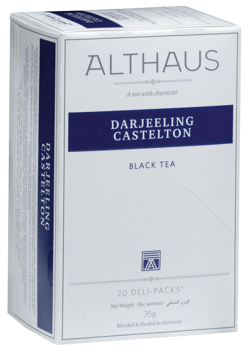 Althaus Darjeeling Castelton чай в пакетиках, 20 шт0120710Darjeeling Castelton — высокогорный черный индийский чай, собранный на одной из самых знаменитых плантаций. Это летний сбор Даржилинга, более крепкий, чем ранние сорта. Darjeeling Casteltonобладает мягким вкусом с легким ореховым оттенком и нежным ароматом.Оптимальная температура заваривания Darjeeling Castelton 90°С. В каждой упаковке находится по 20 пакетиков чая для чашек. Страна: Индия.Температура воды: 85-100 °С.Время заваривания: 3-5 мин.Цвет в чашке: желто-золотой.Althaus - премиальная чайная коллекция.Чай, ингредиенты и ароматизаторы для своих купажей компания Althaus получает от тщательно выбираемых чайных садов, мировых поставщиков высококачественных сублимированных фруктов и трав, а также ведущих европейских производителей ароматизаторов. Пакетик Deli Pack представляет собой порционный двухкамерный мешочек из фильтр-бумаги, запаянный в специальный термоконверт с алюминиевой фольгой. Материал конвертов, в которые запаиваются мешочки с чаем Althaus состоит из четырех слоев:белая бумага с нанесением изображенияполиэтилен пониженной плотностиалюминиевая фольгаполипропилен.Благодаря такому составу упаковка Deli Packs исключает потерю первоначального вкуса и аромата чая в процессе транспортировки и хранения. Deli Packs прекрасно подходят для:домашнего использованияресторанов самообслуживаниябанкетовзавтраков в гостиницахлюбых других случаев, когда необходимо быстро и без особых усилий заварить чашку качественного чая.