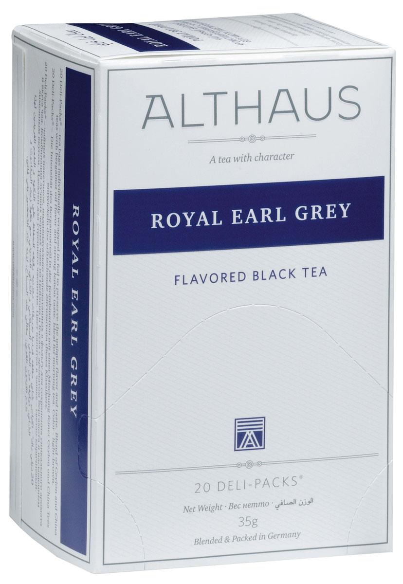Althaus Royal Earl Grey чай ароматизированный в пакетиках, 20 штTALTHB-DP0017Royal Earl Grey - это купаж из лучших индийских и цейлонских сортов черного чая, дающий насыщенный классический вкус с элегантными цитрусовыми нотками бергамота. Масло бергамота способствует концентрации внимания и улучшению настроения, поэтому Эрл Грей идеален для утреннего чаепития.Оптимальная температура заваривания Ройал Эрл Грей 95°С.В каждой упаковке находится по 20 пакетиков чая для чашек.Страна: Индия, Шри-Ланка.Температура воды: 85-100 °С.Время заваривания: 3-5 мин.Цвет в чашке: светло-коричневый. Althaus - премиальная чайная коллекция. Чай, ингредиенты и ароматизаторы для своих купажей компания Althaus получает от тщательно выбираемых чайных садов, мировых поставщиков высококачественных сублимированных фруктов и трав, а также ведущих европейских производителей ароматизаторов. Пакетик Deli Pack представляет собой порционный двухкамерный мешочек из фильтр-бумаги, запаянный в специальный термоконверт с алюминиевой фольгой. Материал конвертов, в которые запаиваются мешочки с чаем Althaus состoит из четырех слоев:белая бумага с нанесением изображенияполиэтилен пониженной плотностиаллюминиевая фольгаполипропилен.Благодаря такому составу упаковка Deli Packs исключает потерю первоначального вкуса и аромата чая в процессе транспортировки и хранения. Deli Packs прекрасно подходят для:домашнего использованияресторанов самообслуживаниябанкетовзавтраков в гостиницахлюбых других случаев, когда необходимо быстро и без особых усилий заварить чашку качественного чая.