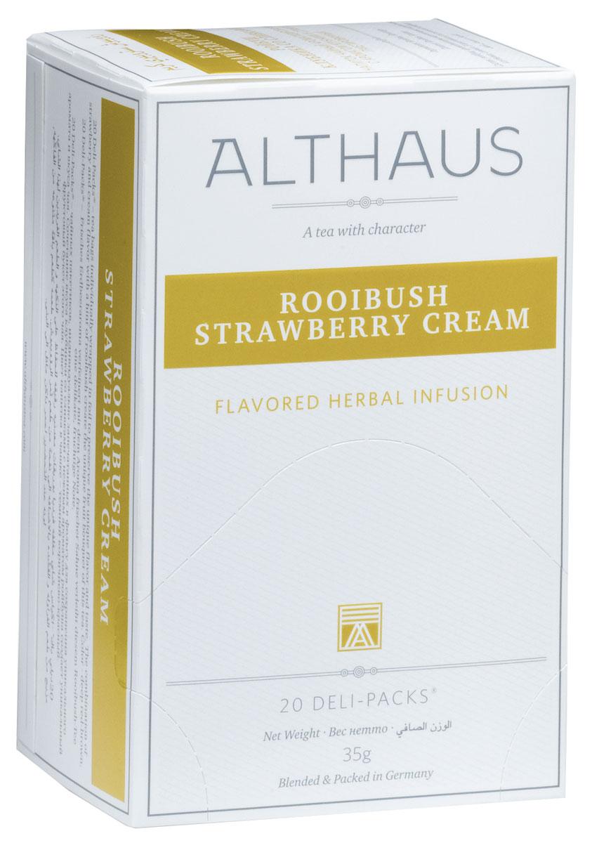 Althaus Rooibush Strawberry Cream фруктовый чай в пакетиках, 20 шт0120710Rooibush Strawberry Cream - это превосходное сочетание вкуса спелой клубники, воздушных сливок и нежного аромата отборных листьевройбуша. Ройбуш — это экзотический напиток из Южной Африки, который не содержит кофеина и исключительно полезен для здоровья.Ройбуш Клубника со Сливками прекрасно подходит к различным десертам.В каждой упаковке находится по 20 пакетиков чая для чашек. Страна: ЮАР.Температура воды: 85-100 °С.Время заваривания: 4-5 мин.Цвет в чашке: насыщенный красно-коричневый.Althaus - премиальная чайная коллекция.Чай, ингредиенты и ароматизаторы для своих купажей компания Althaus получает от тщательно выбираемых чайных садов, мировых поставщиков высококачественных сублимированных фруктов и трав, а также ведущих европейских производителей ароматизаторов. Пакетик Deli Pack представляет собой порционный двухкамерный мешочек из фильтр-бумаги, запаянный в специальный термоконверт с алюминиевой фольгой. Материал конвертов, в которые запаиваются мешочки с чаем Althaus состоит из четырех слоев:белая бумага с нанесением изображенияполиэтилен пониженной плотностиалюминиевая фольгаполипропилен.Благодаря такому составу упаковка Deli Packs исключает потерю первоначального вкуса и аромата чая в процессе транспортировки и хранения. Deli Packs прекрасно подходят для:домашнего использованияресторанов самообслуживаниябанкетовзавтраков в гостиницахлюбых других случаев, когда необходимо быстро и без особых усилий заварить чашку качественного чая.