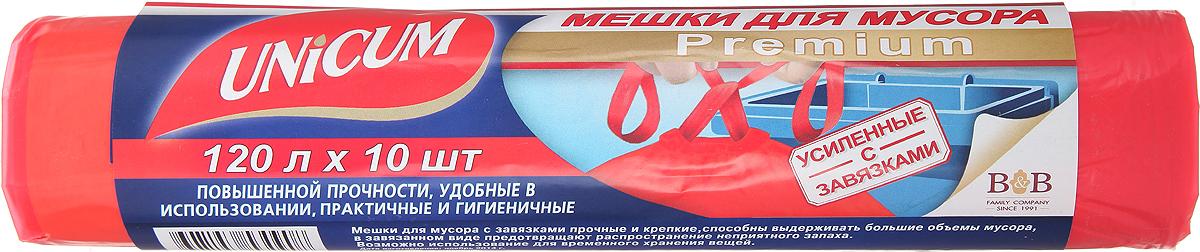 Мешки для мусора Unicum Premium, с завязками, цвет: красный, 120 л, 10 шт57128Мешки для мусора Unicum Premium выполнены из первичного полиэтилена высокого давления. Мешки прочные и крепкие, способны выдерживать большие объемы мусора. Благодаря прочным ручкам удобны в переноске, в завязанном виде предотвращают распространение неприятного запаха. Возможно использование для временного хранения вещей. Материал: первичный полиэтилен высокого давления.Количество: 10 шт.