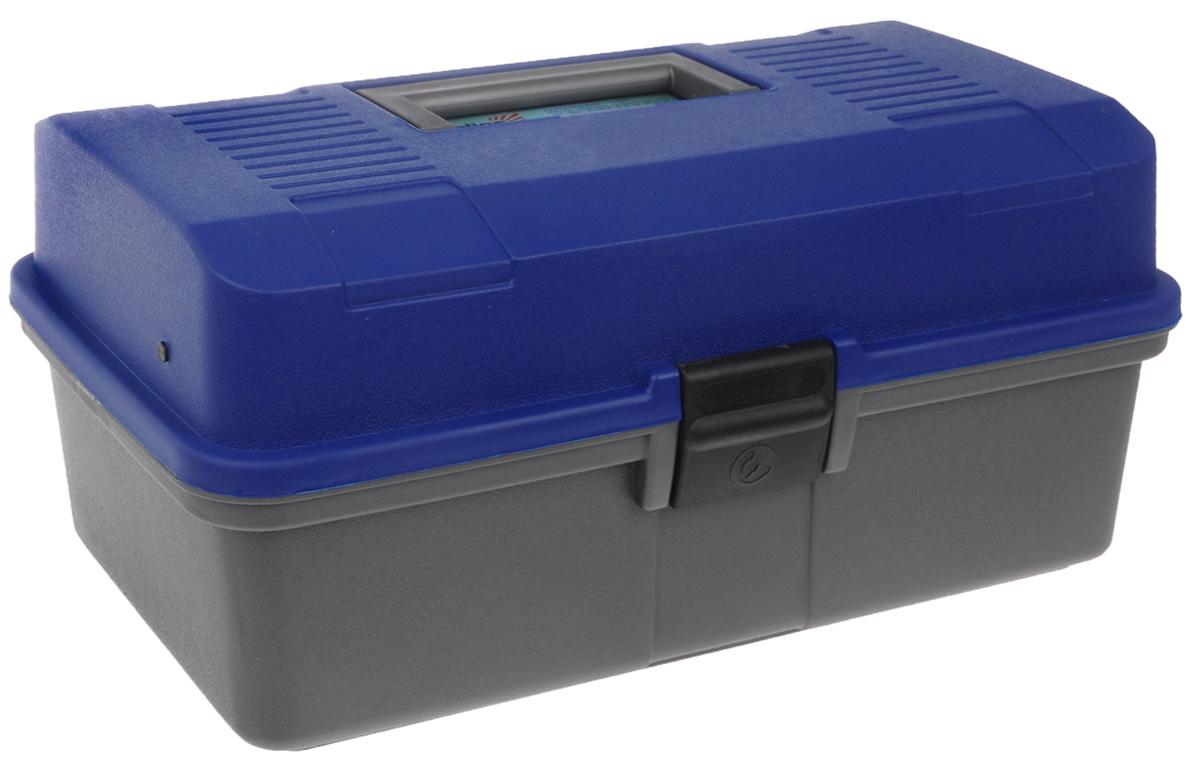 Ящик рыболова Helios, цвет: синий, серый, 34 см х 20 см х 16 см010-01199-23Удобный и вместительный ящик Helios с двумя выдвижными полками отлично подойдет для переноски и хранения различной рыболовной оснастки: поплавков, приманок и другой полезной мелочи. Выполнен из ударопрочного полипропилена. Ящик оснащен двумя полками с несколькими отделениями. На дно можно положить 1-3 спиннинговых катушек. Защелка предотвратит выпадение содержимого.