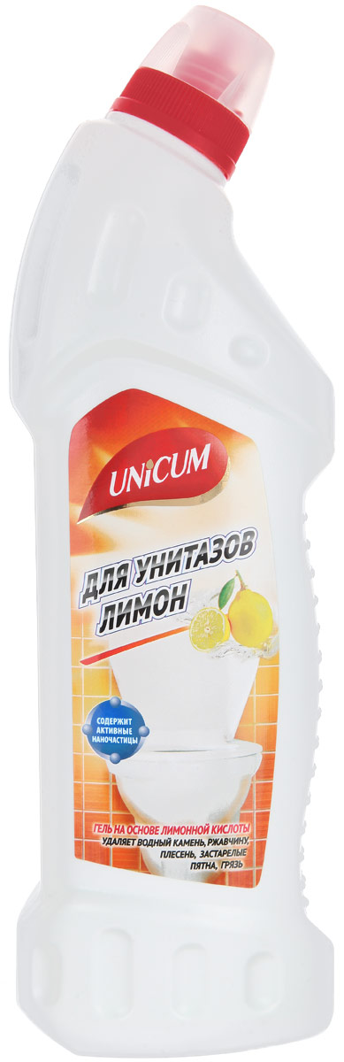 Гель для чистки унитазов Unicum Лимон, 750 мл391602Гель Unicum Лимон - высокоэффективное средство для чистки фарфорового, фаянсового и керамического оборудования ванных и туалетных комнат: унитазов, биде, раковин, кафеля. Гель мгновенно удаляет известковые налеты, ржавчину, мочевой камень, неприятные запахи, препятствует размножению патогенной микрофлоры, а также придает блеск.Состав: деминерализованная вода, 5-15% соляная кислота, 5-15% лимонная кислота, менее 5% ПАВ, менее 5% функциональные добавки, менее 5% краситель, менее 5% ароматизатор.Товар сертифицирован.