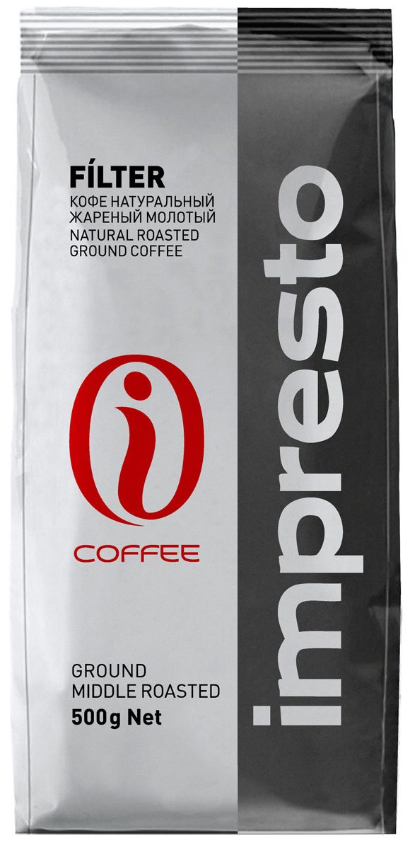 Impresto Filter кофе молотый, 500 г4607141338984В этой смеси соединены лучшие высокогорные сорта арабики из Центральной и Южной Америки с крепкой бразильской робустой. Ароматный купаж раскрывается в глубоком, полнотелом вкусе с волнующей кислинкой.Страна: Бразилия, Никарагуа.Коллекция Impresto – это особая линейка с оригинальными рецептурами из 100% арабики и сбалансированных купажей с робустой, а также декофеинизированный кофе и фильтр-смеси. Мы с радостью предоставляем возможность каждому ценителю кофе приготовить дома превосходный утренний американо, послеобеденную чашечку эспрессо и вечерний кофе с молоком. Купажи Impresto – это зерно с лучших плантаций мира, мастерство европейского обжарщика, тщательное купажирование и высокотехнологичное производство с приверженностью к итальянским кофейным традициям.Impresto – это не только качественный кофе, но и бренд с насыщенной эмоциональной составляющей. Impressive, rest, espresso, restaurant, presto – все это несет в себе Impresto. Новый кофе Impresto – это идеальный выбор современных и динамичных людей, которые любят и умеют ценить действительно вкусный кофе.