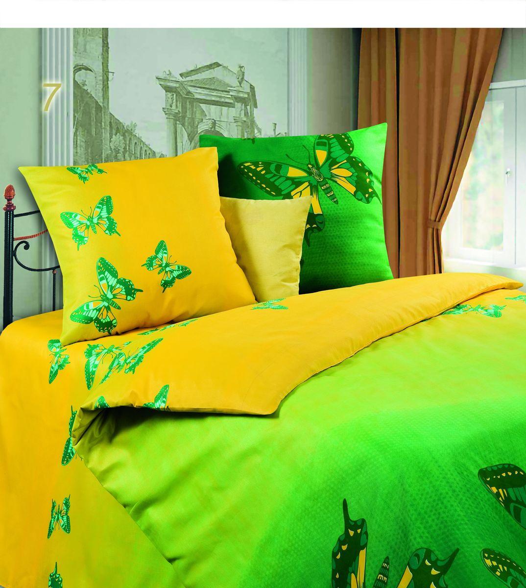 Комплект белья Диана Мгновение, семейный, наволочки 70х70, цвет: желтый, зеленый. PW-7-143-220-69391602Комплект постельного белья Диана Мгновение, изготовленный из микрофибры, поможет вам расслабиться и подарит спокойный сон. Ткань микрофибра - новая технология в производстве постельного белья. Тонкие волокна, используемые в ткани, производят путем переработки полиамида и полиэстера. Такая нить не впитывает влагу, как хлопок, а пропускает ее через себя, и влага быстро испаряется. Ткань не деформируется и хорошо держит форму, не скатывается, быстро высыхает и устойчива к световому воздействию. Изделия не мнутся и хорошо сохраняют первоначальную форму. Постельное белье оформлено изображением бабочек, имеет изысканный внешний вид и обладает яркостью и сочностью цвета. Комплект состоит из двух пододеяльников, простыни и двух наволочек. Благодаря такому комплекту постельного белья вы сможете создать атмосферу уюта и комфорта в вашей спальне.