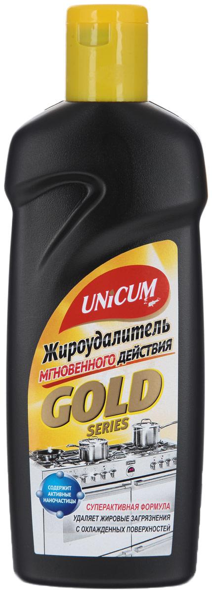 Жироудалитель Unicum Gold, 380 млТ243214Жироудалитель Unicum Gold - особое средство для мгновенного удаления самых стойких застарелых и подгоревших масложировых загрязнений, нагара, копоти с поверхностей кухонных плит, духовых шкафов, грилей, кастрюль, сковородок, пароуловителей, кафельной плитки, в том числе и с охлажденных поверхностей.Состав: очищенная вода, менее 5% НПАВ, 5-15% щелочные (алкальные) компоненты, 5-15% растворители, менее 5% функциональные добавки, менее 5% краситель.Товар сертифицирован.