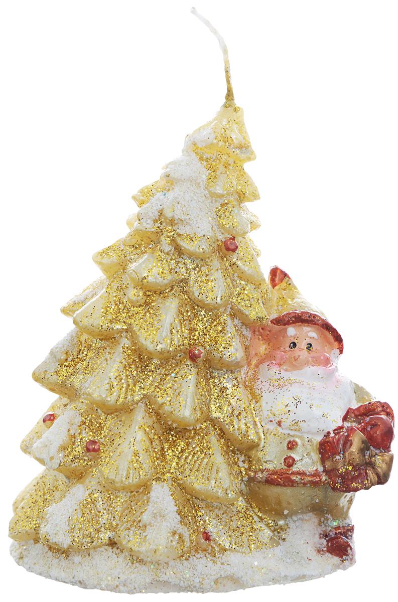 """Свеча Winter Wings """"Елка"""", цвет: золотистый, белый, красный, высота 10 см"""