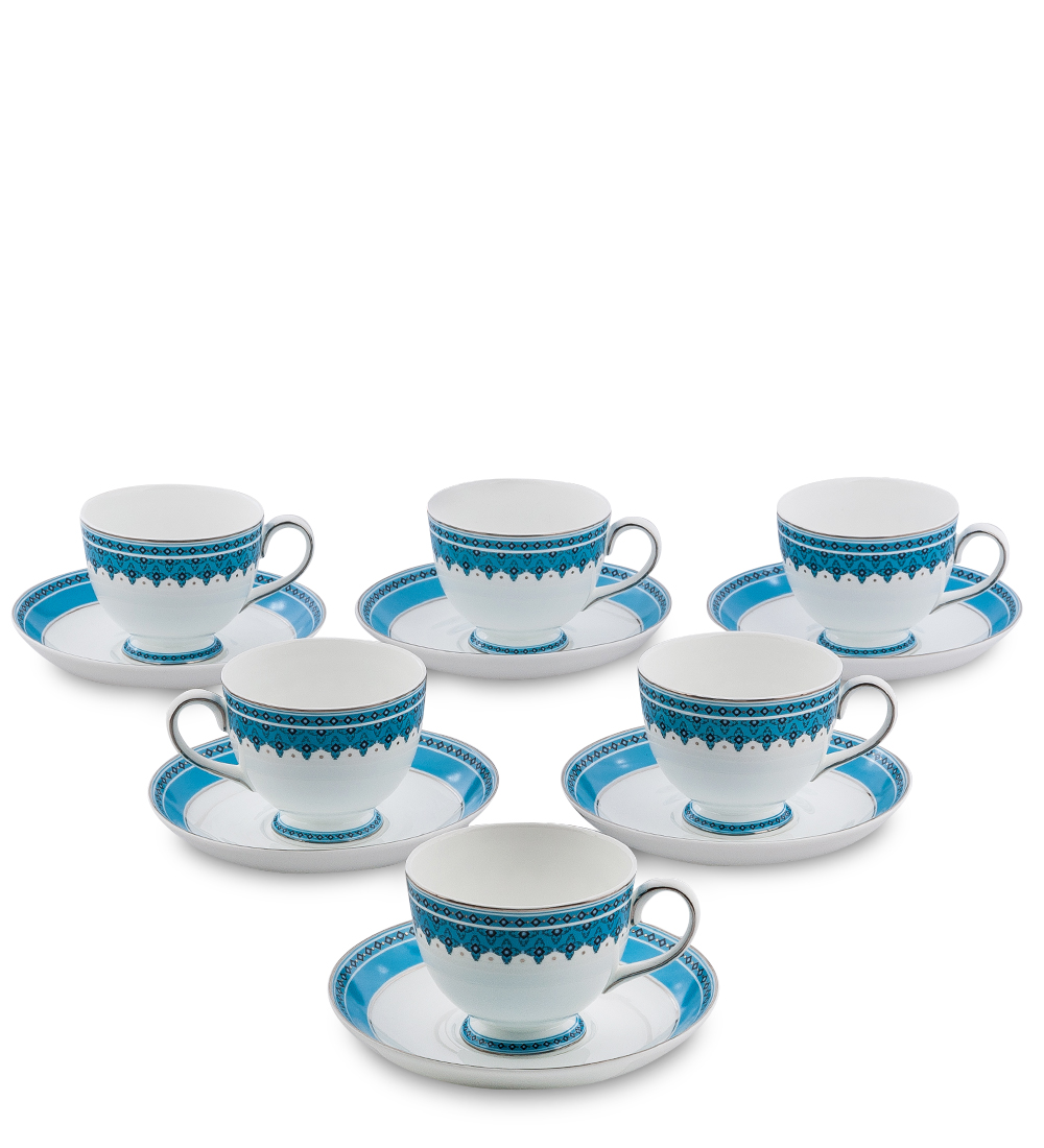 Чайный набор Pavone Византия, цвет: белый, голубой, 12 предметовVT-1520(SR)Чайный набор Pavone Византия состоит из шести чашек и шести блюдец,изготовленных из фарфора. Предметы набора оформленыоригинальным орнаментом.Чайный набор Pavone Византия украсит ваш кухонный стол, а такжестанет замечательным подарком друзьям и близким.Изделие упаковано в подарочную коробку. Диаметр чашки по верхнему краю: 8,5 см.Высота чашки: 7 см.Диаметр блюдца: 15,5 см.
