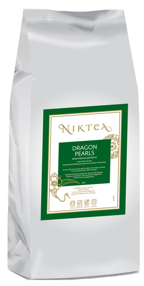 Niktea Dragon Pearls зеленый листовой чай, 250 гTALTHB-DP0018Niktea Dragon Pearls - ароматный жасминовый чай, скрученный в форме изящных жемчужин. Исключительно эффектно смотрится при заваривании.NikTea следует правилу качество чая - это отражение качества жизни и гарантирует:Тщательно подобранные рецептуры в коллекции топовых позиций-бестселлеров.Контролируемое производство и сертификацию по международным стандартам.Закупку сырья у надежных поставщиков в главных чаеводческих районах, а также в основных центрах тимэйкерской традиции - Германии и Голландии.Постоянство качества по строго утвержденным стандартам.NikTea - это два вида фасовки - линейки листового и пакетированного чая в удобной технологичной и информативной упаковке. Чай обладает многофункциональным вкусоароматическим профилем и подходит для любого типа кухни, при этом постоянно осуществляет оптимизацию базовой коллекции в соответствии с новыми тенденциями чайного рынка.Листовая коллекция NikTea представлена в герметичной фольгированной упаковке, которая эффективно предохраняет чай от воздействия света, влаги и посторонних запахов, обеспечивая длительное хранение. Каждая упаковка снабжена этикеткой с подробным описанием чая, его состава, а также способа заваривания.