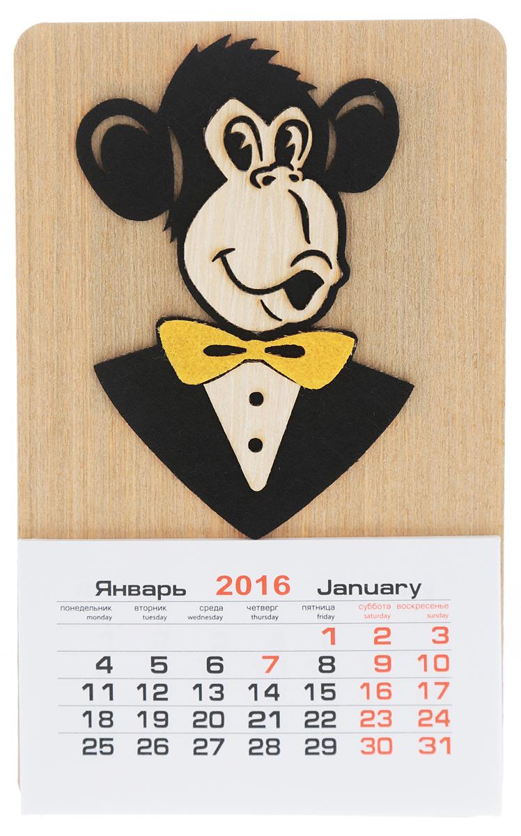 Календарь на магните Караван-СТ Обезьяна с галстуком-бабочкой (2016 год)Брелок для ключейКалендарь на магните Караван-СТ Обезьяна с галстуком-бабочкой изготовлен из шпона и бумаги. Изделие оформлено забавной фигуркой обезьяны с галстуком-бабочкой, выполненной из фетра. На оборотной стороне имеется магнит, благодаря чему вы сможете разместить календарь на холодильнике или на другой металлической поверхности. Такой оригинальный календарь на 2016 год станет приятным и необычным подарком родным и близким!Материал: шпон, бумага, фетр.