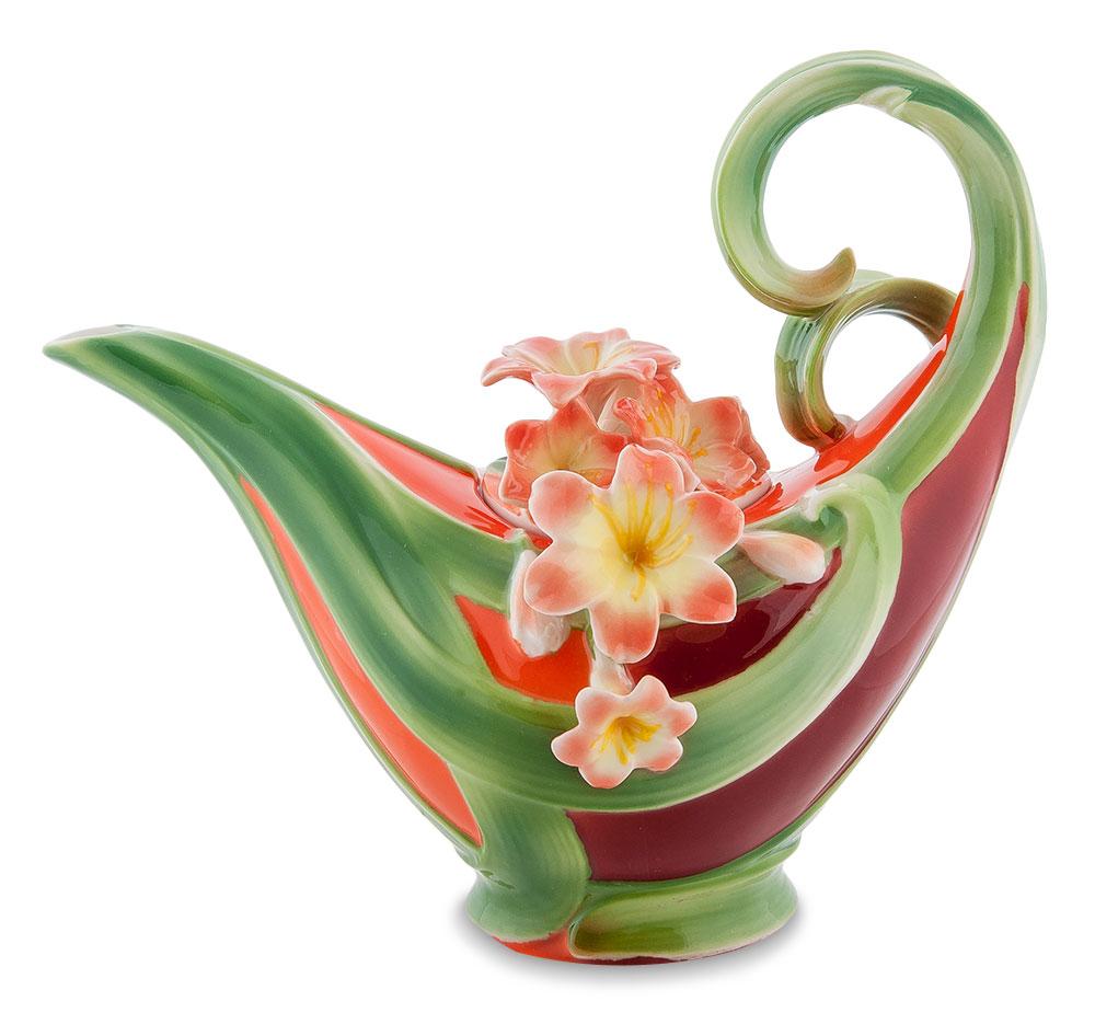 Чайник заварочный Pavone Кливия, цвет: зеленый, оранжевый, 600 мл94672Чайник заварочный Pavone Кливия изготовлен из высококачественной фарфора. Изделие оформлено изящными объемными цветами. Такой чайник прекрасно дополнит сервировку стола к чаепитию и станет его неизменным атрибутом. Изделие упаковано в подарочную коробку с атласной подложкой. Объем: 600 мл. Диаметр (по верхнему краю): 5 см. Высота стенки (без учета крышки): 9 см.
