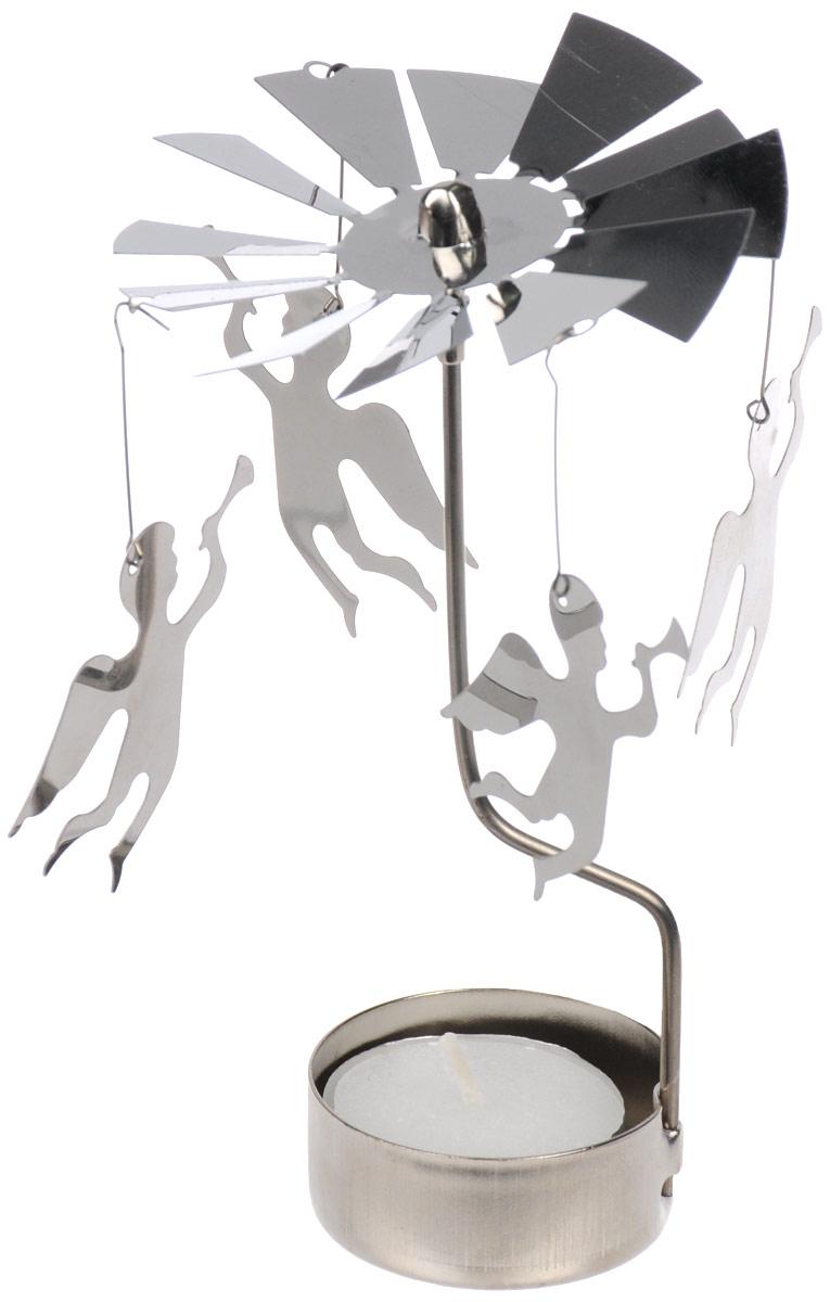 Вертушка с чайной свечой Gardman Ангел175474Вертушка с чайной свечой Gardman Ангел станет отличным дополнением интерьера и создаст праздничное настроение в вашем доме. Изделие выполнено из нержавеющей стали в виде вертушки, на которую подвешиваются ангелочки. Декоративные ангелочки вращаются благодаря горению свечи. Свеча входит в комплект.Диаметр вертушки: 8 см.Высота изделия: 14 см.