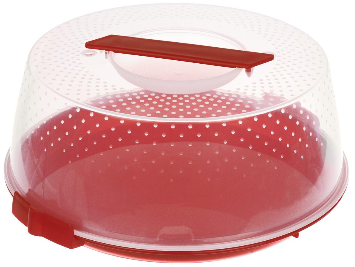 Тортница Cosmoplast Оазис, цвет: красный, прозрачный, диаметр 28 см115510Тортница Cosmoplast Оазис изготовлена из высококачественного прочного пищевого пластика. Тортница имеет удобную ручку для переноски и прочные фиксаторы крышки. Может использоваться в микроволновой печи и морозильной камере (выдерживает температуру от -30°С до +110°С). Очень гигиенична и легко моется. Можно мыть в посудомоечной машине. Диаметр тортницы: 28 см. Внутренний диаметр тортницы: 26 см. Высота тортницы: 12 см.