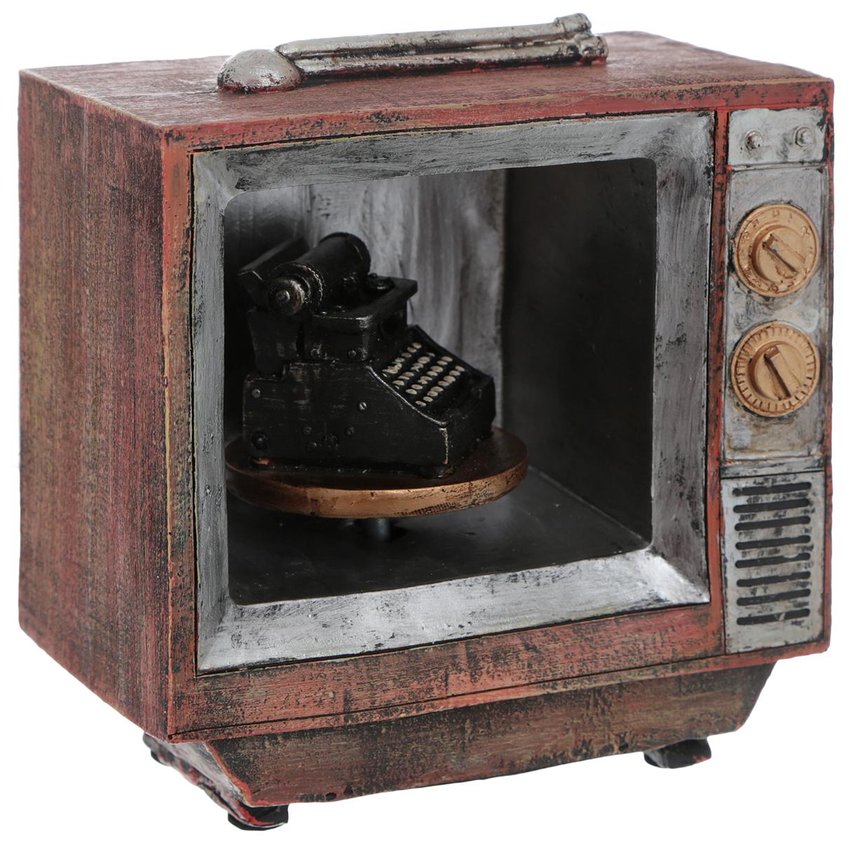 Сувенир Miolla Ретротелевизор, музыкальный, 13 см х 7 см х 13,5 смTHN132NОригинальный сувенир Miolla Ретротелевизор, выполненный из полирезина в виде старого телевизора, станет отличным подарком для человека, ценящего забавные и необычные подарки. Изделие оснащено фигуркой печатной машинки, повернув которую, сувенир начнет издавать приятную мелодию.Сувенир Miolla Ретро телевизор с таким необычным дизайном станет приятным и неожиданным подарком для своего получателя.