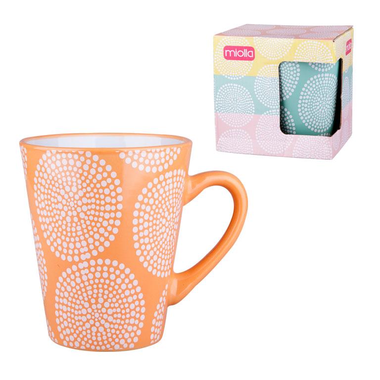 Кружка Miolla, цвет: оранжевый, 340 мл115510Оригинальная кружка Miolla, выполненная из высококачественной керамики, сочетает в себе изысканный дизайн с максимальной функциональностью.Красочность оформления кружки придется по вкусу и ценителям классики, и тем, кто предпочитает утонченность и изысканность.Диаметр (по верхнему краю): 9 см. Высота: 11,5 см. Объем: 340 мл.