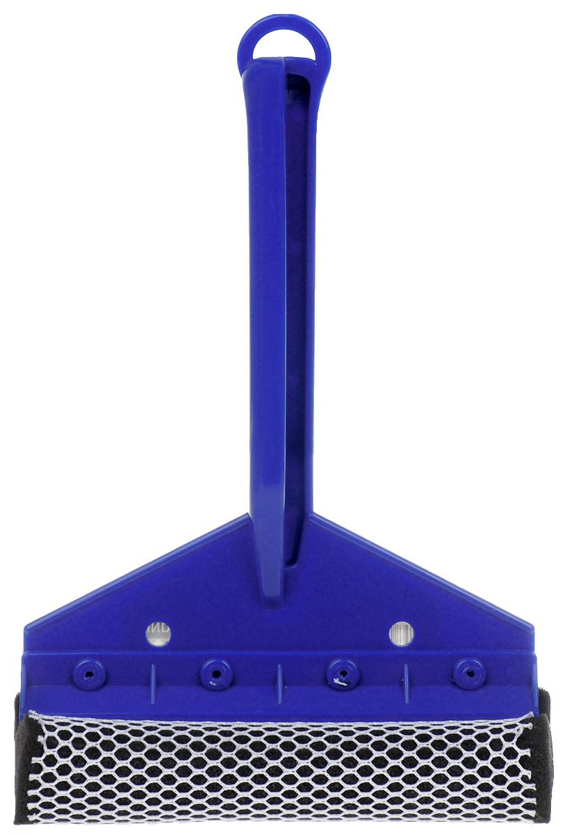 Щетка для мытья стекол Sapfire, с водосгоном, цвет: синий, 24 смVCA-00Щетка Sapfire предназначена для мытья стекол. Рукоятка выполнена из морозостойкого пластика. Щетка выполнена из высокоупорного поролона с защитной сеткой для бережной мойки, не повреждая лакокрасочного покрытия автомобиля. Для наиболее удобной работы оснащен резиновым водосгоном. Удобная рукоятка выполнена из пластика снабжена отверстием на конце, благодаря которому щетку можно подвесить в удобном для вас месте. Оригинальная, современная и удобная щетка для мытья стекол Sapfire сделает уборку эффективнее и приятнее.Длина рабочей поверхности щетки: 16 см.Длина рукоятки: 18,5 см.