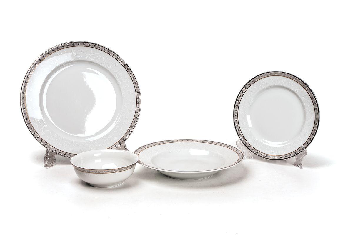 Сервиз столовый 24пр, цвет: белый с платинойFS-91909Глубокая тарелка 22 см 6 штук , тарелка 27 см 6 штук , десертная тарелка 16 см 6 штук , салатник 13 см 6 штук.Элегантная посуда класса люкс теперь на вашем столе каждый день. Сделанные из высококачественного материала с использованием новейших технологий, предметы сервировки Tunisie Porcelaine невероятно прочны и прекрасно подходят для повседневного использования. Материал: фарфор: цвет: белый с платинойСерия: TANIT
