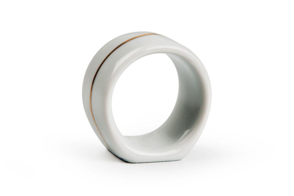 Кольцо для салфеток, цвет: белый с золотомFS-91909Кольцо для салфеток Материал: фарфор: цвет: белый с золотомСерия: VENDANGE