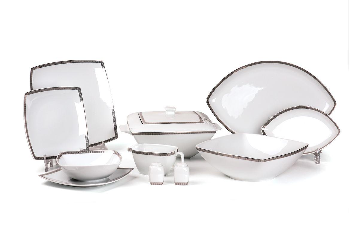Kyoto 1554 столовый сервиз 25 пр. платина , цвет: белый с платиной115510Супница 2,8 л , глубокая тарелка 22 см 6 штук , тарелка 26 см 6 штук , десертная тарелка 20 см 6 штук , солонка, перечница, Блюдо овальное 25 см, Блюдо овальное 40 см , салатник 25см, соусник 230мл.Элегантная посуда класса люкс теперь на вашем столе каждый день. Сделанные из высококачественного материала с использованием новейших технологий, предметы сервировки Tunisie Porcelaine невероятно прочны и прекрасно подходят для повседневного использования. Материал: фарфор: цвет: белый с платинойСерия: KYOTO