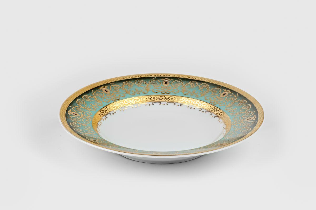 Набор глубоких тарелок La Rose Des Sables Mimosa Prague Degrade, цвет: бело-зеленый с золотом, диаметр 22 см, 6 штVT-1520(SR)Материал: фарфор: цвет: бело-зеленый с золотомСерия: MIMOSA