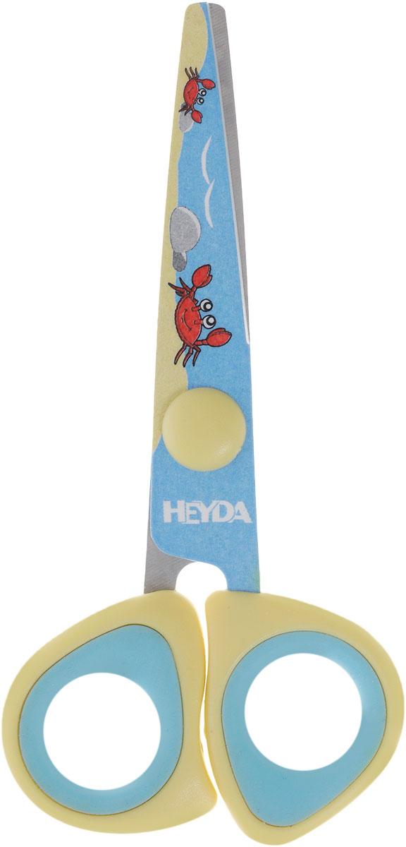 Heyda Ножницы детские цвет голубой желтыйFS-54127Детские ножницы Heyda предназначены для детского творчества и художественно-оформительских работ.Лезвия выполнены из высококачественной нержавеющей стали. Облегченные пластиковые ручки с прорезиненными вставками адаптированы для детской руки. Ножницы имеют закругленный концы, что делает эксплуатацию безопасной.