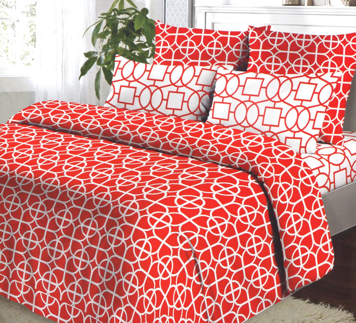 Комплект белья Коллекция Гео, 2-спальный, наволочки 70х70, цвет: красный, белый391602Комплект постельного белья Коллекция Гео выполнен из бязи (100% натурального хлопка). Комплект состоит из пододеяльника, простыни и двух наволочек. Постельное белье оформлено ярким красочным рисунком.Хорошая, качественная бязь всегда ценилась любителями спокойного и комфортного сна. Гладкая структура делает ткань приятной на ощупь, мягкой и нежной, при этом она прочная и хорошо сохраняет форму. Благодаря такому комплекту постельного белья вы сможете создать атмосферу роскоши и романтики в вашей спальне.