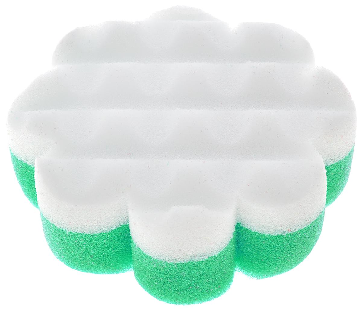 Курносики Мочалка с массажным слоем Цветок цвет зеленый белый, Мир Детства