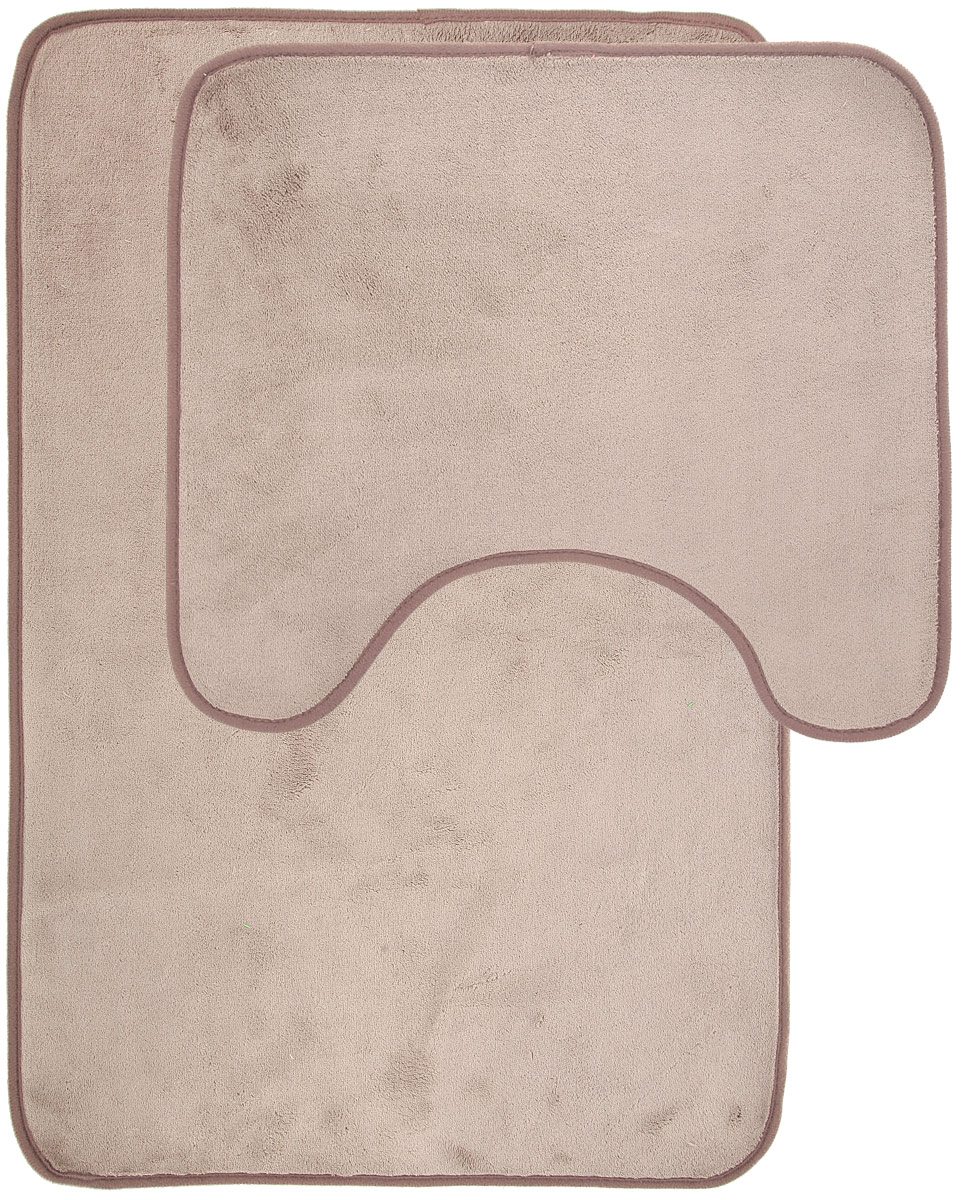 Набор ковриков для ванной Miolla, цвет: бежевый, серый, 2 шт531-105Набор Miolla состоит из двух ковриков для ванной комнаты: прямоугольного и с вырезом. Изделия изготовлены из 100% полиэстера. Благодаря специальной обработки нижней стороны, коврики не скользят на плитке. Изделия послужат прекрасным дополнением к интерьеру и порадуют вас своей функциональностью.Размер ковриков: 75 см х 48 см, 45 см х 40 см.Высота ворса: 0,3 см.