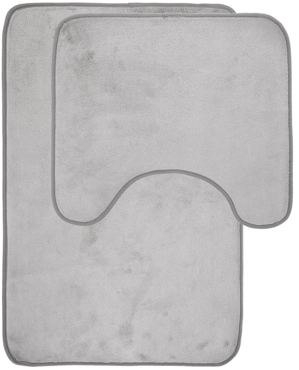 Набор ковриков для ванной Miolla, цвет: серый, 2 шт531-401Набор Miolla состоит из двух ковриков для ванной комнаты: прямоугольного и с вырезом. Изделия изготовлены из 100% полиэстера. Благодаря специальной обработки нижней стороны, коврики не скользят на плитке. Изделия послужат прекрасным дополнением к интерьеру и порадуют вас своей функциональностью.Размер ковриков: 75 см х 48 см, 45 см х 40 см.Высота ворса: 0,3 см.