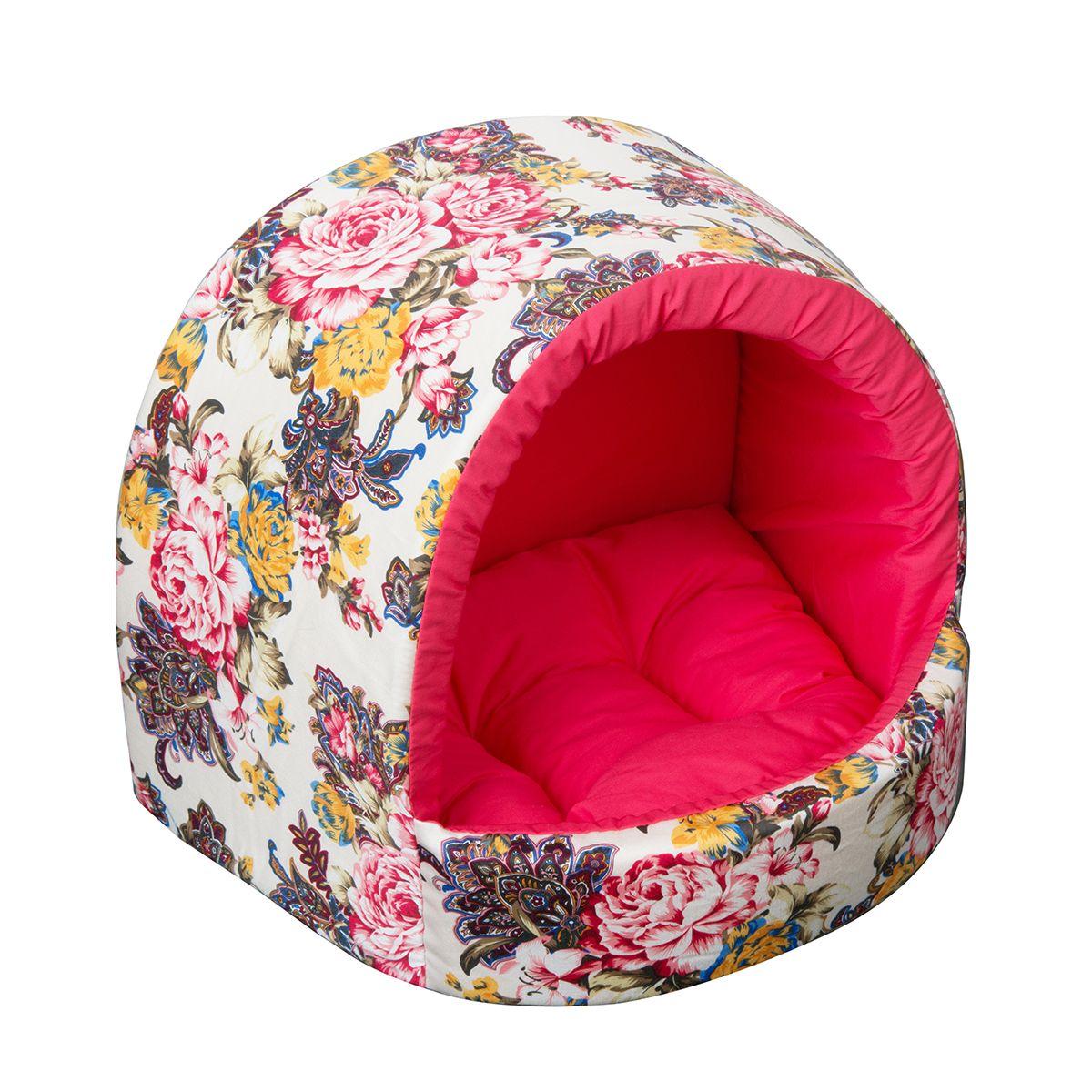Домик Dogmoda Бутон 29*27*23 см0120710Модный цветочный дизайн этого уютного домика для животных отразит прекрасный вкус владельца и прекрасно дополнит интерьер.