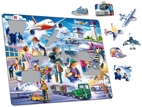 Красочное изображение международного аэропорта и пассажиров познакомит детей с особенностями путешествий на самолете. Пазл Ларсен состоит из большого количества деталей, которые удобно соединять между собой, последовательно складывая единую картинку. Многообразие форм и различные размеры отдельных элементов способствуют развитию мелкой моторики у малышей. Пазлы из высококачественного трехслойного картона не деформируются и легко берутся в руки. Все пазлы снабжены специальной подложкой, благодаря чему их удобно собирать.