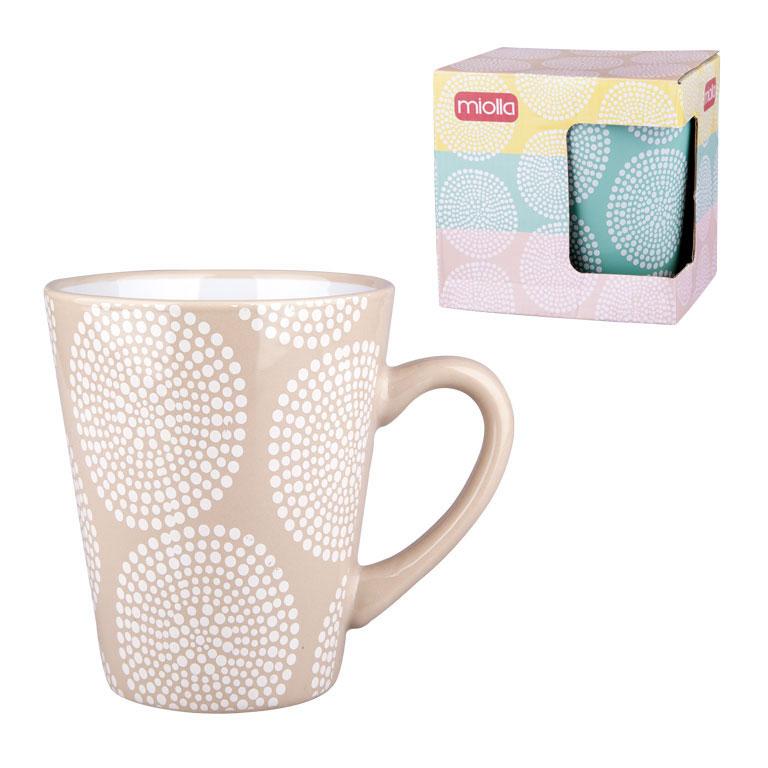 Кружка Miolla, цвет: бледно-розовый, 340 мл115510Оригинальная кружка Miolla, выполненная из высококачественной керамики, сочетает в себе изысканный дизайн с максимальной функциональностью.Красочность оформления кружки придется по вкусу и ценителям классики, и тем, кто предпочитает утонченность и изысканность.Диаметр (по верхнему краю): 9 см. Высота: 11,5 см. Объем: 340 мл.