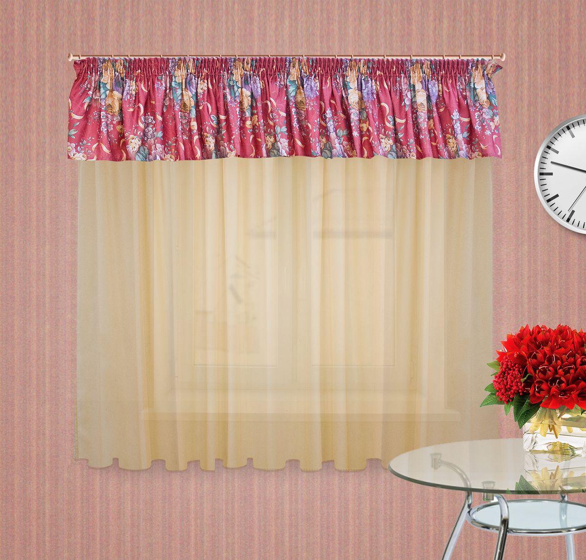 Тюлевое полотно Zlata Korunka. 5555310281Комплект штор на шторной ленте , Ламбрекен : 400*50см 1шт, ткань печатный сатен с орнаментом крупного цветка, Тюлевое полотно из вуали цвет: светлый беж размером: 300*180