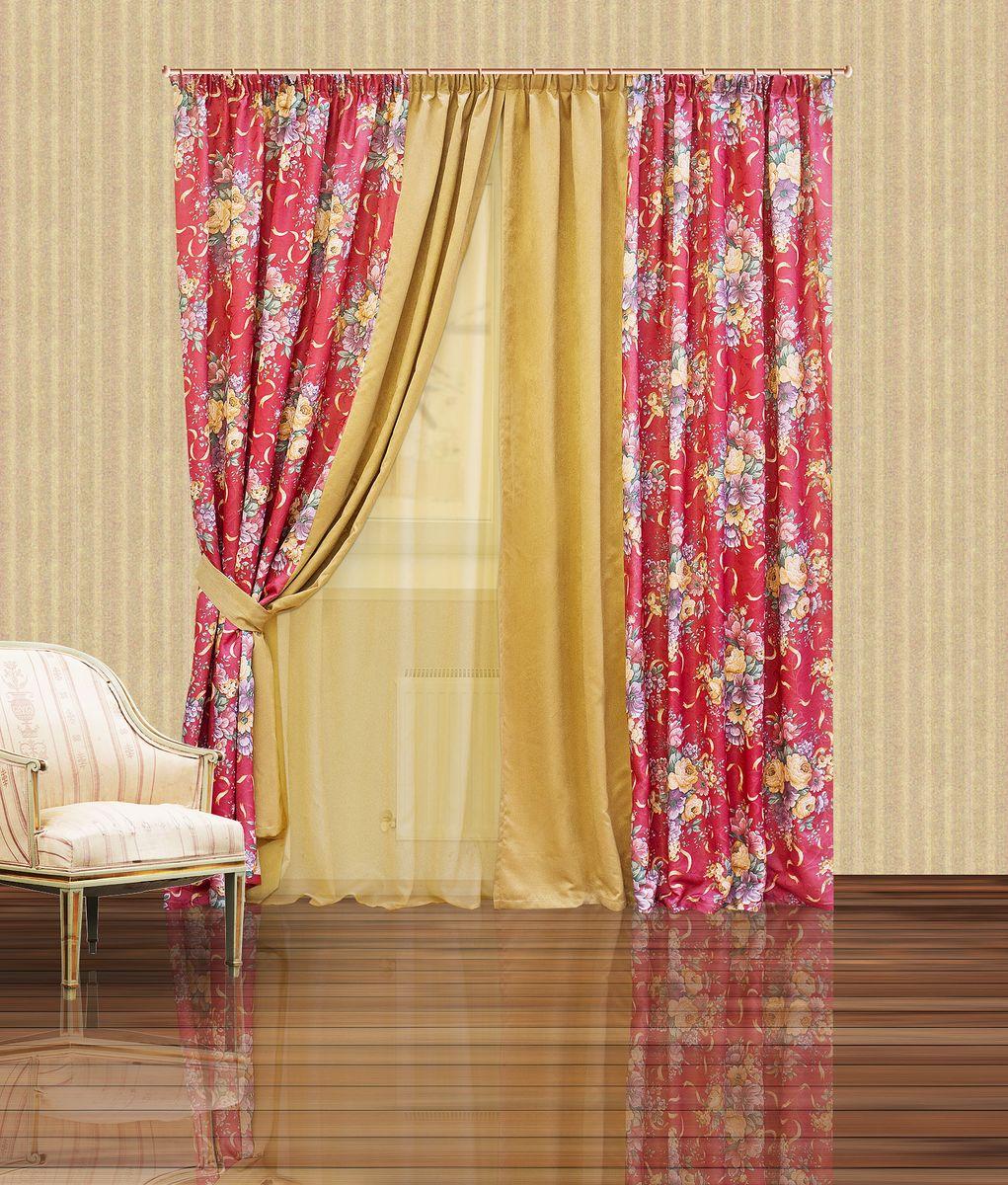 Комплект штор Zlata Korunka, на ленте, цвет: бордовый, бежевый, высота 250 см. 5555710260Комплект штор Zlata Korunka, выполненный из полиэстера, великолепно украсит любое окно. Комплект состоит из тюля, двух штор и двух подхватов. Крупный цветочный рисунок и приятная цветовая гамма привлекут к себе внимание и органично впишутся в интерьер помещения. Этот комплект будет долгое время радовать вас и вашу семью!Комплект крепится на карниз при помощи ленты, которая поможет красиво и равномерно задрапировать верх.В комплект входит: Тюль: 1 шт. Размер (Ш х В): 400 х 250 см. Штора: 2 шт. Размер (Ш х В): 200 х 250 см.Подхват: 2 шт. Размер (Ш х Д): 10 х 60 см.