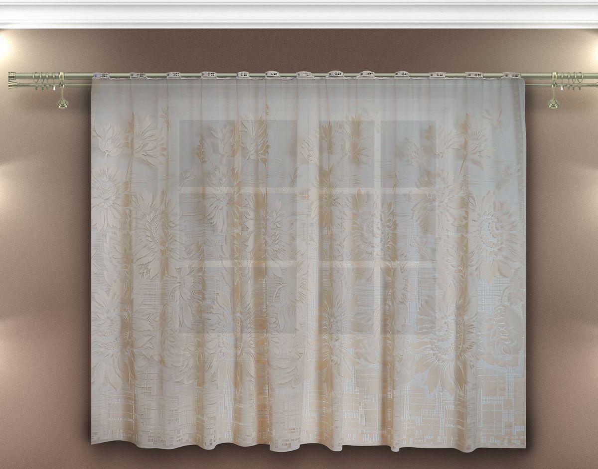 Гардина Zlata Korunka, на петлях, цвет: бежевый, высота 160 см. 8885710257Гардина Zlata Korunka, изготовленная из высококачественного полиэстера, станет великолепным украшением любого окна. Изящный цветочный узор привлечет к себе внимание и органично впишется в интерьер комнаты. Оригинальное оформление гардины внесет разнообразие и подарит заряд положительного настроения.Вид крепления - петли. Рекомендуемая ширина карниза (см): 100-170.