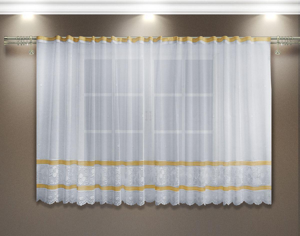 Гардина Zlata Korunka, цвет: белый, желтый, высота 160 см. 8886055551Гардина из тюле-кружевного полотна, крепление на зажимах для штор.
