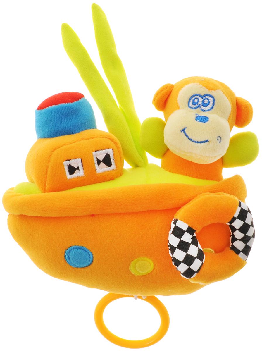 WSBD World Мягкая музыкальная игрушка Обезьянка на кораблике 16 см