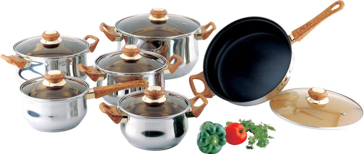 Набор посуды Bekker Classic, с крышками, 12 предметов. BK-226BK-226Набор Bekker Classic состоит из 4 кастрюль с крышками, ковша с крышкой и сковороды с крышкой. Изделия изготовлены из высококачественной нержавеющей стали 18/10 с зеркальной полировкой. Посуда имеет капсулированное термическое дно - совершенно новая разработка, позволяющая приготавливать здоровую пищу. Благодаря уникальной конструкции дна, тепло, проходя через металл, равномерно распределяется по стенкам посуды. Для приготовления пищи в такой посуде требуется минимальное количество масла, тем самым уменьшается риск потери витаминов и минералов в процессе термообработки продуктов. Посуда оснащена удобными бакелитовыми ручками. Крышки выполнены из жаростойкого прозрачного стекла, оснащены ручкой, металлическим ободом и отверстием для выпуска пара. Такие крышки позволяют следить за процессом приготовления пищи без потери тепла. Они плотно прилегают к краю и сохраняют аромат блюд. Объем кастрюль: 1,5 л, 2,1 л, 3 л, 6 л.Внутренний диаметр кастрюль: 16 см, 18 см, 20 см, 24 см.Объем ковша: 1,5 л.Внутренний диаметр ковша: 16 см.Объем сковороды: 2,6 л.Внутренний диаметр сковороды: 24 см.
