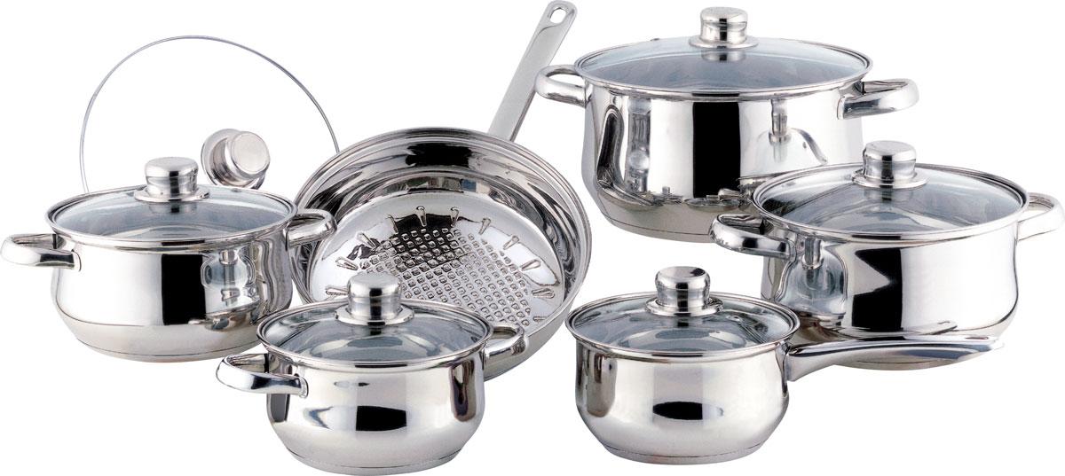 Набор посуды Bekker Classic, с крышками, 12 предметов. BK-226BK-251Набор Bekker Classic состоит из 4 кастрюль с крышками, ковша с крышкой и сковороды с крышкой. Изделия изготовлены из высококачественной нержавеющей стали 18/10 с зеркальной полировкой. Посуда имеет капсулированное термическое дно - совершенно новая разработка, позволяющая приготавливать здоровую пищу. Благодаря уникальной конструкции дна, тепло, проходя через металл, равномерно распределяется по стенкам посуды. Для приготовления пищи в такой посуде требуется минимальное количество масла, тем самым уменьшается риск потери витаминов и минералов в процессе термообработки продуктов. Крышки выполнены из жаростойкого прозрачного стекла, оснащены ручкой, металлическим ободом и отверстием для выпуска пара. Такие крышки позволяют следить за процессом приготовления пищи без потери тепла. Они плотно прилегают к краю и сохраняют аромат блюд. Объем кастрюль: 1,5 л, 2,1 л, 3 л, 6 л.Внутренний диаметр кастрюль: 16 см, 18 см, 20 см, 24 см.Объем ковша: 1,5 л.Внутренний диаметр ковша: 16 см.Объем сковороды: 2,6 л.Внутренний диаметр сковороды: 24 см.