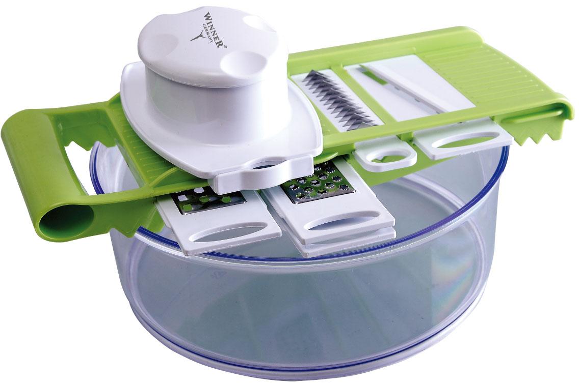 Овощерезка мн.-функ. WR-740294672В наборе: чаша 2,5л(24см), держатель для ножей, держатель для продуктов, ножи: для крупной нарезки, для мелкой нарезки, для нарезки сыра, для шинкования, для нарезки тонкими ломтиками, Состав: пластик пищевой, лезвия из нержав. стали.