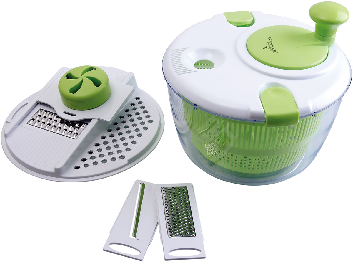 Набор д/изгот. салатов WR-7405FS-91909В наборе: чаша 5,5л(24,5см), крышка держатель для ножей, держатель для продуктов, ножи: для крупной нарезки, для мелкой нарезки, для нарезки тонкими ломтиками, крышка для сушки зелени и ягод, корзинка-дуршлаг. Состав: пластик пищевой, лезвия из нержав. стали.