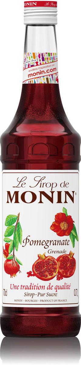 Monin Гранат сироп, 0,7 л0120710Сироп Monin Гранат имеет освежающий сладко-кислый вкус и аромат граната. Идеально подходит для коктейлей и чая со льдом.Сиропы Monin выпускает одноименная французская марка, которая известна как лидирующий производитель алкогольных и безалкогольных сиропов в мире. В 1912 году во французском городке Бурже девятнадцатилетний предприниматель Джордж Монин основал собственную компанию, которая специализировалась на производстве вин, ликеров и сиропов. Место для завода было выбрано не случайно: город Бурже находился в непосредственной близости от крупных сельскохозяйственных районов - главных поставщиков свежих ягод и фруктов.