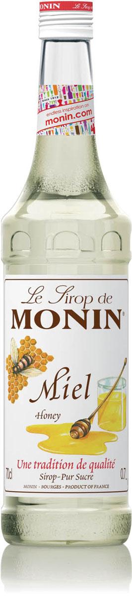 Monin Мед сироп, 0,7 л0120710Сделанный из настоящего меда без добавления подсластителей, сироп Monin Мёд специально разработан для быстрого растворения в горячих и даже в охлажденных напитках. Полученный из нектара цветов, у меда есть характерный естественный цветочный аромат, который принуждает некоторых людей предпочитать его сахару и другим подслащивающим веществам.Сиропы Monin выпускает одноименная французская марка, которая известна как лидирующий производитель алкогольных и безалкогольных сиропов в мире. В 1912 году во французском городке Бурже девятнадцатилетний предприниматель Джордж Монин основал собственную компанию, которая специализировалась на производстве вин, ликеров и сиропов. Место для завода было выбрано не случайно: город Бурже находился в непосредственной близости от крупных сельскохозяйственных районов - главных поставщиков свежих ягод и фруктов.Производство сиропов стало ключевым направлением деятельности компании Monin только в 1945 году, когда пост главы предприятия занял потомок основателя - Пол Монин. Именно под его руководством ассортимент марки пополнился разнообразными сиропами из натуральных ингредиентов, которые молниеносно заслужили блестящую репутацию в кругу поклонников кофейных напитков и коктейлей. По сей день высокое качество остается базовым принципом деятельности французской марки. Сиропы Монин создаются исключительно из натуральных ингредиентов по уникальным технологиям, позволяющим сохранять в готовом продукте все полезные свойства природного сырья.Эксперты всего мира сходятся во мнении, что сиропы Monin - это законодатели мод в миксологии. Ассортимент французской марки на сегодняшний день является самым широким и насчитывает полторы сотни уникальных вкусовых решений. В каталоге компании можно найти как классические вкусы для кофейных напитков (шоколадный, ванильный, ореховый и другие сиропы), так и весьма экзотические варианты (сиропы со вкусом кокоса, зеленой мяты, тирамису, блю курасао, аниса, грейпфрута, пина колады и т. 
