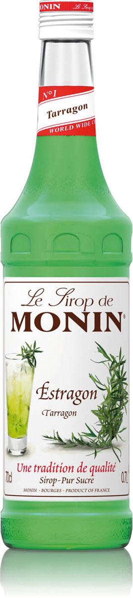 Monin Тархун сироп, 0,7 л0120710Тархун – растение, листья которого используются в кулинарии. Обладает слабым пряным ароматом и острым, пряным и пикантным вкусом. Из растения готовят освежающий напиток Тархун, применяют для ароматизации вин и ликёров, используют в кулинарии для приготовления соусов и многого другого. Исходя из этой тенденции, Monin сделал сироп Тархун, более легкий для использования и с более сильным вкусом, чем высушенные листья.Сиропы Monin выпускает одноименная французская марка, которая известна как лидирующий производитель алкогольных и безалкогольных сиропов в мире. В 1912 году во французском городке Бурже девятнадцатилетний предприниматель Джордж Монин основал собственную компанию, которая специализировалась на производстве вин, ликеров и сиропов. Место для завода было выбрано не случайно: город Бурже находился в непосредственной близости от крупных сельскохозяйственных районов - главных поставщиков свежих ягод и фруктов.Производство сиропов стало ключевым направлением деятельности компании Monin только в 1945 году, когда пост главы предприятия занял потомок основателя - Пол Монин. Именно под его руководством ассортимент марки пополнился разнообразными сиропами из натуральных ингредиентов, которые молниеносно заслужили блестящую репутацию в кругу поклонников кофейных напитков и коктейлей. По сей день высокое качество остается базовым принципом деятельности французской марки. Сиропы Монин создаются исключительно из натуральных ингредиентов по уникальным технологиям, позволяющим сохранять в готовом продукте все полезные свойства природного сырья.Эксперты всего мира сходятся во мнении, что сиропы Monin - это законодатели мод в миксологии. Ассортимент французской марки на сегодняшний день является самым широким и насчитывает полторы сотни уникальных вкусовых решений. В каталоге компании можно найти как классические вкусы для кофейных напитков (шоколадный, ванильный, ореховый и другие сиропы), так и весьма экзотические варианты (сиропы со вкусом ко