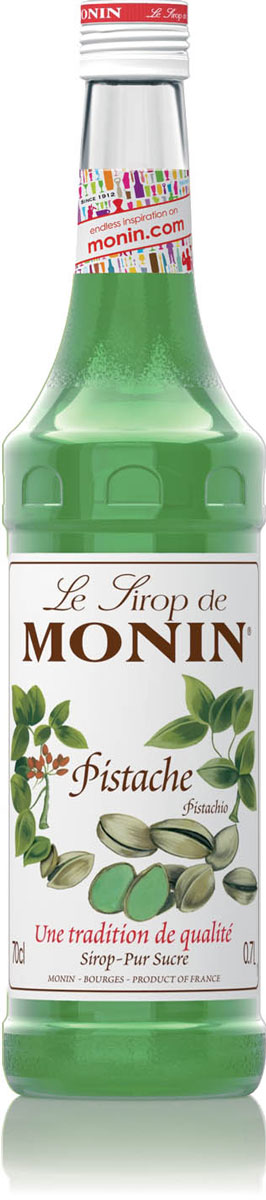 Monin Фисташки сироп, 0,7 л0120710Фисташки имеют нежный, тонкий вкус, который замечателен и для того, чтобы поесть, и для ароматизации сладких и соленых блюд. Одно из самого популярного использования фисташек - фисташковое мороженое. Сироп Monin Фисташки позволяет легко наслаждаться подлинным снисходительным вкусом фисташек в специальных кофейных напитках и коктейлях.Сиропы Monin выпускает одноименная французская марка, которая известна как лидирующий производитель алкогольных и безалкогольных сиропов в мире. В 1912 году во французском городке Бурже девятнадцатилетний предприниматель Джордж Монин основал собственную компанию, которая специализировалась на производстве вин, ликеров и сиропов. Место для завода было выбрано не случайно: город Бурже находился в непосредственной близости от крупных сельскохозяйственных районов - главных поставщиков свежих ягод и фруктов.Производство сиропов стало ключевым направлением деятельности компании Monin только в 1945 году, когда пост главы предприятия занял потомок основателя - Пол Монин. Именно под его руководством ассортимент марки пополнился разнообразными сиропами из натуральных ингредиентов, которые молниеносно заслужили блестящую репутацию в кругу поклонников кофейных напитков и коктейлей. По сей день высокое качество остается базовым принципом деятельности французской марки. Сиропы Монин создаются исключительно из натуральных ингредиентов по уникальным технологиям, позволяющим сохранять в готовом продукте все полезные свойства природного сырья.Эксперты всего мира сходятся во мнении, что сиропы Monin - это законодатели мод в миксологии. Ассортимент французской марки на сегодняшний день является самым широким и насчитывает полторы сотни уникальных вкусовых решений. В каталоге компании можно найти как классические вкусы для кофейных напитков (шоколадный, ванильный, ореховый и другие сиропы), так и весьма экзотические варианты (сиропы со вкусом кокоса, зеленой мяты, тирамису, блю курасао, аниса, грейпфрута, пина колады и т. д