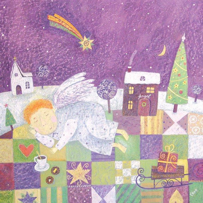 Открытка Ночь перед Рождеством. Автор Соловьева СветланаSvS10-018Оригинальная дизайнерская открытка Ночь перед Рождеством выполнена из плотного матового картона. На лицевой стороне расположена репродукция картины художницы Светланы Соловьевой с изображением спящего ангела.Такая открытка станет великолепным дополнением к подарку или оригинальным почтовым посланием, которое, несомненно, удивит получателя своим дизайном и подарит приятные воспоминания.